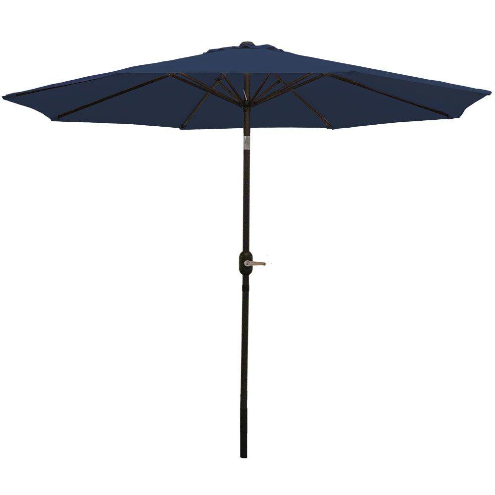 Sunnydaze 9 Foot Outdoor Patio Umbrella with Tilt & Crank, Aluminum, Navy Blue by Sunnydaze Decor