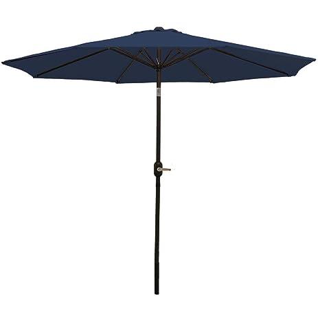 Lovely Sunnydaze Navy Blue Aluminum 9 Foot Patio Umbrella With Tilt U0026 Crank