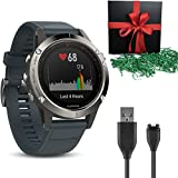 garmin 900 - Gift Package: Garmin Golf GPS Watch Fenix 5S, Silver with Granite Blue Band + 1 USB Charging/Data Cable