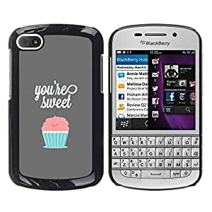 BlackBerry Q10 , Radio-Star - Cáscara Funda Case Caso De Plástico (You'Re Sweet Pastel Cupcake)
