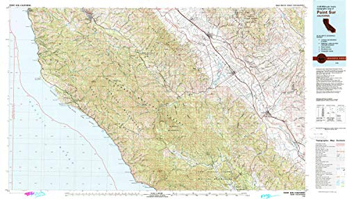 YellowMaps Point Sur CA topo map, 1:100000 Scale, 30 X 60 Minute, Historical, 1982, Updated 1980, 23.9 x 41.5 in - ()