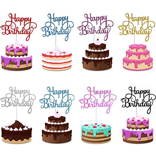 Trounistro Happy Birthday Cake Toppers, 40 pieces Cake Toppers Glitter Cardstock Topper letters