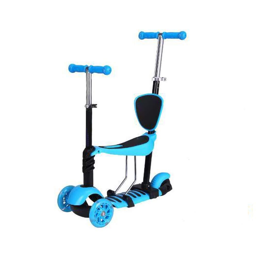Meet now 子供用三輪スクーター、ペダル自転車、調節可能、多目的スクーター、子供用自転車 品質保証 ( Color : 青 )