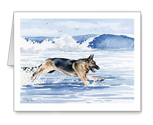 German Shepherd At The Beach - Set of 10 Note Cards With Envelopes ()