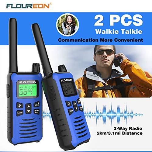 FLOUREON Talkie-Walkie Rechargeable Lot de 4 16 Canaux Radio Bidirectionnelle comme Jouet Emetteur-récepteur Portée 5km Max. Intercom Léger Compact Auto Scan Bleu