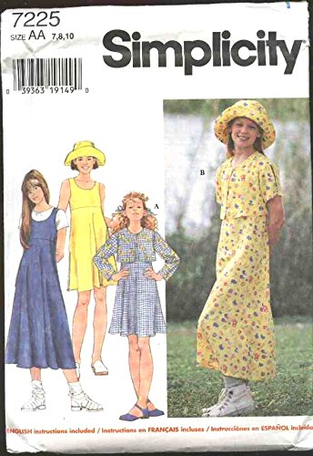 Simplicity Sewing Pattern 7225 Girls Size 12-14 Jacket Bolero Dress Jumper Hat