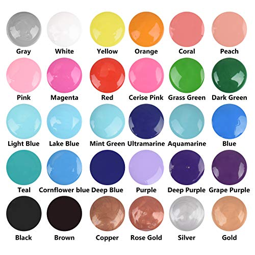 Acrylic Pouring Paint, 2oz Bottles, Set of 32 Assorted Colors, High Flow Acrylic Paint, No Mixing Needed, Paint for Pouring on Canvas, Glass, Paper, Wood, Tile, and Stones
