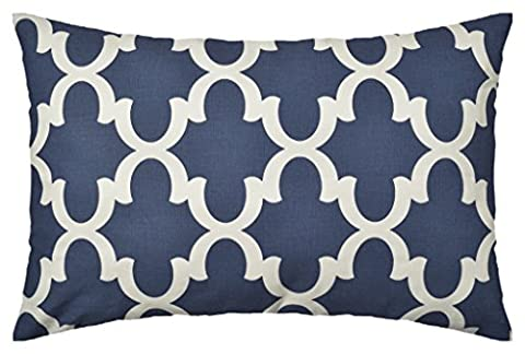 JinStyles Quatrefoil Cotton Canvas Lumbar Decorative Throw Pillow Cover (White and Navy Blue, 12 x 24 Inches)