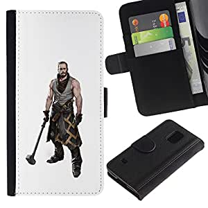 iKiki Tech / Cartera Funda Carcasa - Hammer Warrior Man Muscles Masculine Art - Samsung Galaxy S5 V SM-G900