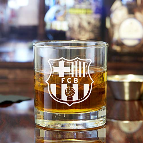 (Whiskey Glass Gift Set - FC Barcelona Emblem Design - 10oz Rocks Glasses - 2PCS)