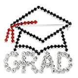 Graduation Cap Pin Brooch Graduate Silver Tone Pave Clear Black Red Crystal
