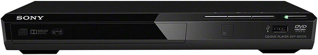 Sony DVPSR370B - Reproductor de DVDs con USB, CD-R/RW, DVD+RW/+R/+R DL, DVD-RW/-R/-R DL (incluidos DVD de 8 cm), JPEG, mp3, MPEG-4, WMA, AAC y PCM lineal, Diseño Compacto 270 mm, Negro