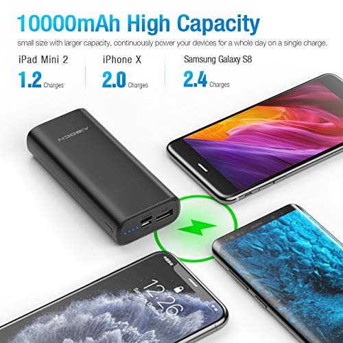 Aibocn 10000mAh Power Bank, USB C Portable Charger External Battery Pack Compatible with iPhone, Samsung, iPad, and More.