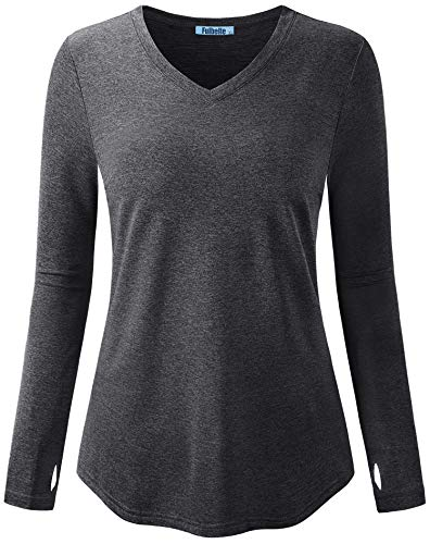 Fulbelle Long Sleeve V Neck T Shirts with Thumbholes for Women Workout Tunic Top