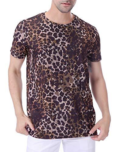 COSAVOROCK Herren Tierdruck Kurzarm T-Shirt
