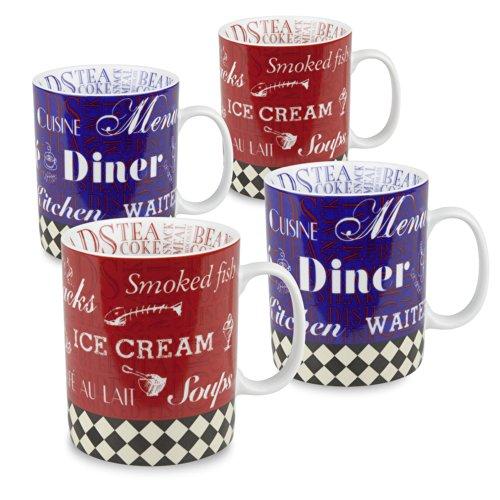 Konitz American Diner Mugs, Set of 4