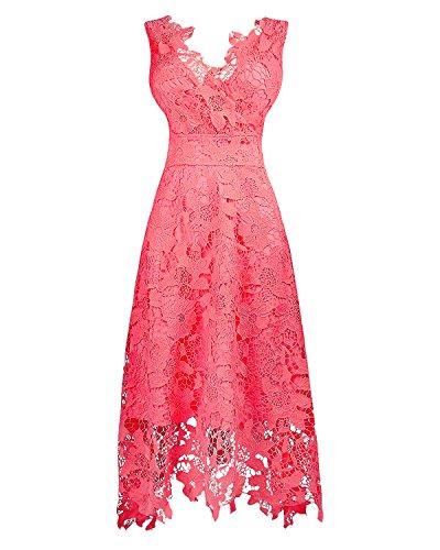 KIMILILY Women's V neck Sleeveless Floral Lace Bridesmaid Homecoming Dresses, Coral, Medium