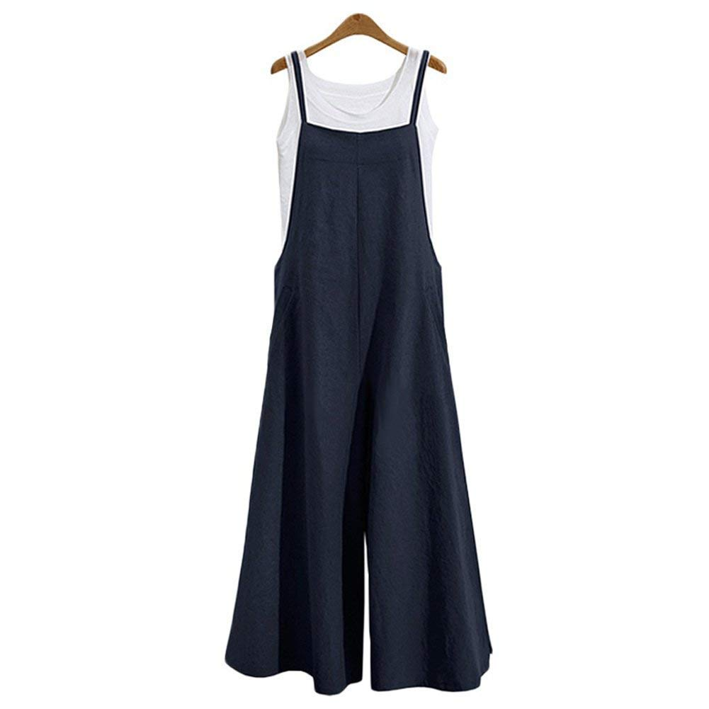 Oubaybay Women's Casual Overalls Trousers Loose Jumpsuits Soft Linen Pants Blue S