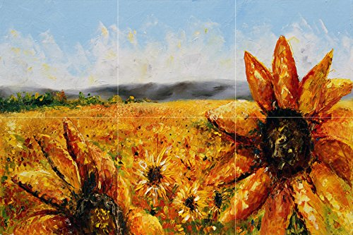 - Contemporary Art. Landscape. Flowers. Blazing Sun by Meaghan Troup Tile Mural Kitchen Bathroom Wall Backsplash Behind Stove Range Sink Splashback 3x2 4.25