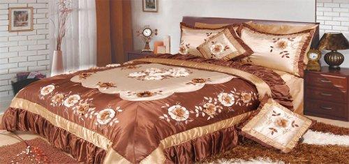DaDa Bedding BM6002 Bronze Flowers Polyester Patchwork 5-Piece Comforter Set, King, Dark (Bronze Bedding Set)