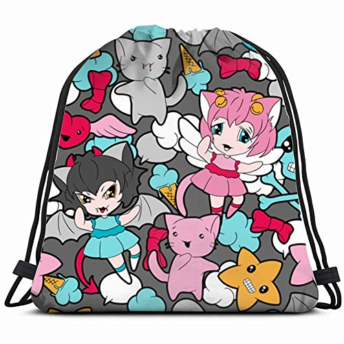 pattern doodle kawaii anime Drawstring Bag for Women Drawstring Hiking Backpack Gym Bag for Women 17X14 Inch]()