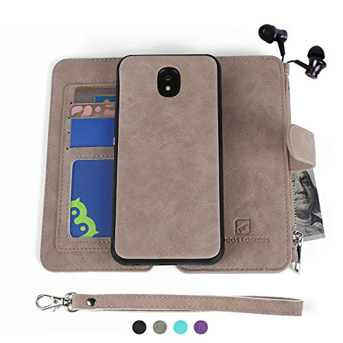 Cowhide Star - Samsung J7 2018 Case, Modos Logicos [Detachable Wallet Folio][2 in 1][Zipper Cash Storage][Up to 14 Card Slots 1 Photo Window] PU Leather Purse with Removable Inner Magnetic TPU Case - Grey