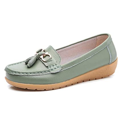 Mujer Zapatos Planos Cuero Soft Único Ligero Hebilla Metálica Mocasines Talón Bajo Navy Verde Ronda Toe