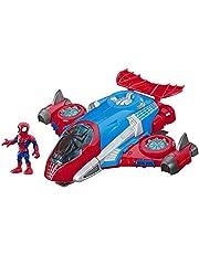 Playskool Heroes Marvel-superheldavonturen Spider-Man Jetquarters, figuur-en-voertuigset van 12,5 cm, speelgoed om te verzamelen voor kinderen vanaf 3 jaar