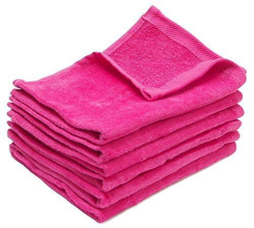 (Set of 3 ) Wholesale Hand Towels, 100% Cotton, Terry cotton one side and velour on the other side, (3, Hot Pink)