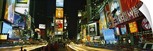 Canvas On Demand Wall Peel Wall Art Print entitled Neon boards in a city lit up at night, Times Square, New York City, New York State - Stores York In City Square New Times