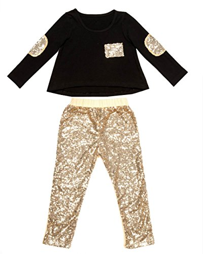 Messy Code Baby Outfit Long Sleeve clothes Glitter Gold Pants for Girls Black t shirt 12 monthes (Gold Glitter Shirt)