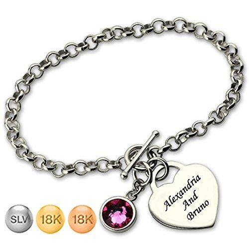 Fashion Bracele Personality Bracele Custom Heart Bracelet For Her with Birthstone Creative Gifts(rose-gold-plated-base - Tiffany Online Shopping Co &