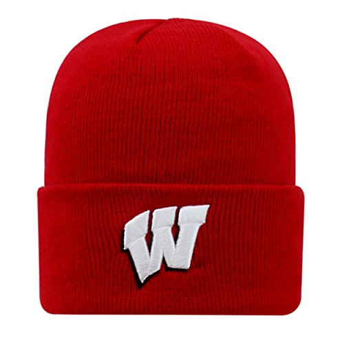 Top of the World Wisconsin Badgers Official NCAA Cuffed Knit Tow Beanie Stocking Stretch Sock Hat Cap 936956