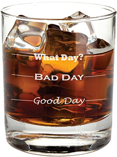 Good Day, Bad Day - Funny 11 oz Rocks Glass, Permanently Etched, Gift for Dad, Co-Worker, Friend, Boss, Christmas - (Father Christmas Glass)