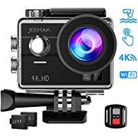 JEEMAK 4K Touch Screen Action Camera 16MP Waterproof Sports Cam 170° Ultra Wide Angle Len with SONY Sensor WiFi Remote Control 2 Pcs Rechargeable Batteries and Accessories Kits for Gopro Camera