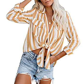 RXRXCOCO Women's Striped Long Sleeve Shirts Tie Knot Crop Top Casual Blouses Tops - Yellow - Large(fits Like US 12-14)