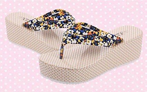 Minetom Mujer Verano Dulce Bohemia Floral Cuña Chancletas Plataforma Forrados Muffin Clip Dedo Del Pie Zapatillas Sandalias Amarillo