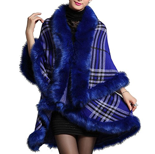 YGT Women's Faux Fox Fur Neck Cardigan Double Layers Knitted Loose Floral Shawl Cloak Cape Coat