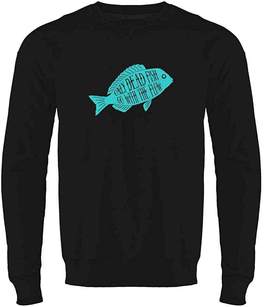 Pop Threads Only Dead Fish Go with The Flow Crewneck Sweatshirt for Men