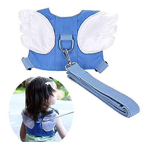 Baby Safety Walking Harness-Child Toddler Anti-Lost Belt Harness Reins with Leash Kids Assistant Strap Angel Wings Travel Haress for 1-3 Years Boys and Girls(Blue) ()