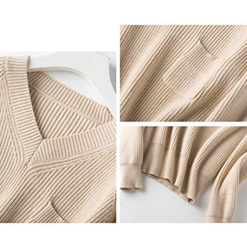 A color Xxxl Manica Scollo 3xl Ginocchio Da Maglia Size Donna Con Lunga S Calda V Il Sopra Al Haxibkena Beige Maglione RT4qXX