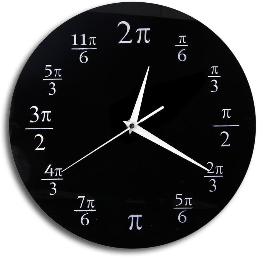 The Geeky Days 3.14 Pi Wall Clock Mathematical Pi Classroom Wall Decor Black Acrylic Pop Quiz Wall Clock Home Decor Geek Nerd Math Chic Gift