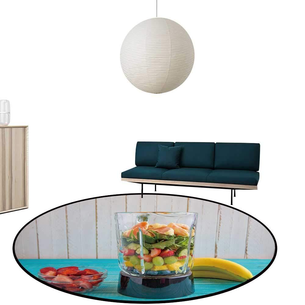 """Custom&blanket Circular Image Print Carpet Blender fille organicfruits Vegetables Waterproof and Easy Clean Diameter-35.4"""""""