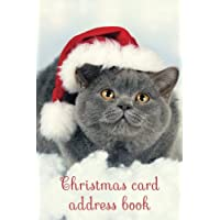 Christmas card address book: An address book and tracker for the Christmas cards you send and receive - Christmas cat cover