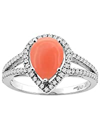 14K Gold Natural Coral Ring Pear Shape 9x7 mm Diamond Accents, sizes 5 - 10