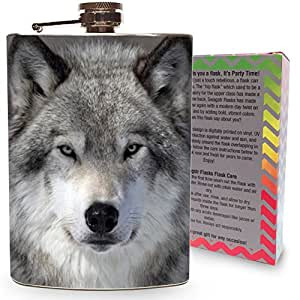 Wolf Flask 8oz Stainless Steel Hip Flasks Spirits Alcohol Whiskey Liquor Gin Vodka Wedding Flasks Wild Wolves Snow