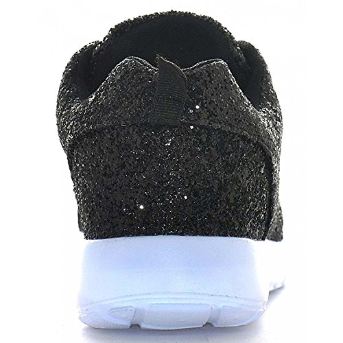 Sneakers Size Black Pumps Lace Trainers Up Fitness Womens Ladies Gym Glitter Sparkly YvqYHUn