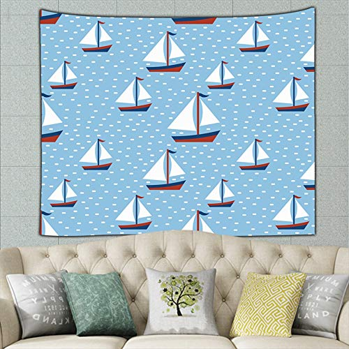KATERN Nauticals Yacht Silhouette On Holidays Tapestry Wall Hanging Tapestries Black & White Wall Blanket Wall Art for Living Room Bedroom Home Decor 50