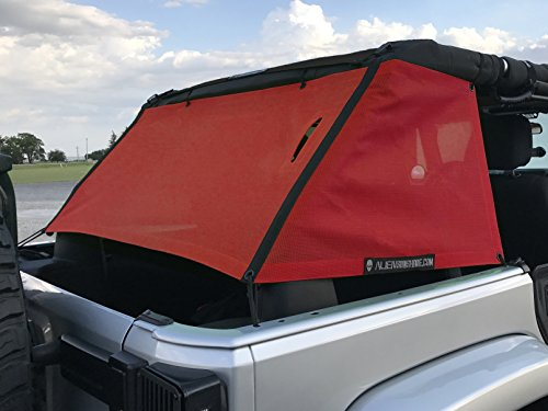 - ALIEN SUNSHADE Jeep Wrangler Mesh Cage Shade with 10 Year Warranty Protects Your Cargo Area From Harmful UV Rays for Your 4-Door JKU (2006-2017) (Cherry Red)