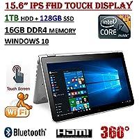 ~ HP Envy 15t x360 15.6 2-in-1 Convertable Laptop ~ 7th Gen. Intel Core i7-7500U Processor ~ 16GB DDR4 RAM ~ 1TB HDD + 128GB SSD ~ 15.6 IPS FHD Touch Display ~Wireless AC ~ Windows 10